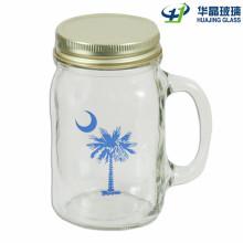 1oz-24oz Craft Glass Mason Jars with Handle and Straw Lid