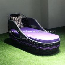 Nuevo diseño exterior al aire libre cinturón de cama plana tumbona con cojín