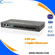 Lowest price 10/100/1000Base-TX to 1000Base-FX 8 sfp Ports and 2 RJ45 PortsSFP Media Converter