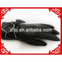 Frauen hochwertigen romantischen Ziegenfell Fahrer Leder Handschuh mit Bogen