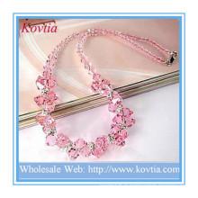 Beaux bijoux haut de gamme collier en cristal rose en argent