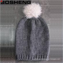 Invierno cálido lindo gris sombrero de punto con blanco POM