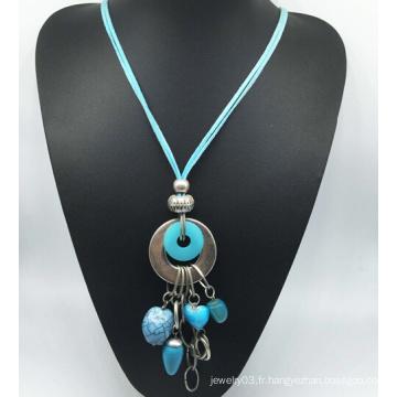 Collier en alliage de pierre imitation velours bleu (XJW13770)