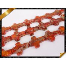 Природные оранжевого моря отложения Яшма Креста подвеска Gemstone свободные бусины (GB0108)