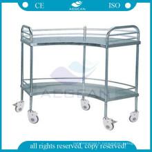 AG-SS007 hôpital en forme d'éventail opération appareil table en acier inoxydable chariot avec roues