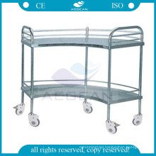 AG-SS007 hospital fan-shaped operation apparatus table stainless steel cart with wheels