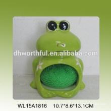 Sostenedor de esponja de cerámica verde decorativo de la rana