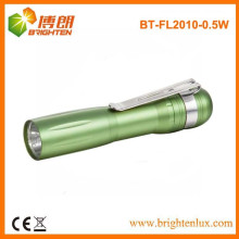 Factory Bulk Sale Promotionnel Aluminium Bright Pocket Size 1AA Dry Battery Powered Petite 1w led mini Torch with Clip
