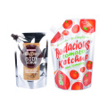 Crystal Clear Plastic Mylar Dimsum Packaging Stand up Seal Frozen Liquid Spout Bag with Screw Caps