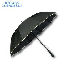 Free Artwork High Quality 30 Inch Straight Auto Open Full Fiberglass Windproof Safety Reflective Golf Umbrella with Custom Logo