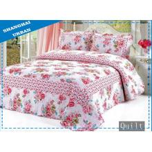 Capa de cama 100% algodão com estampa de flores (colcha)