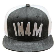 Flat Brim Denim sombrero Snapback con Puff Logo