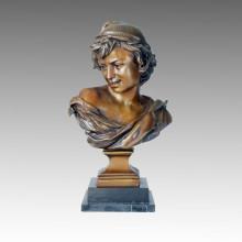 Busts Bronze Sculpture Lady Carving Deco Brass Statue TPE-083