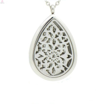 Magnetic stainless steel Water Drop pendant locket, solid perfume filigree cage locket pendants