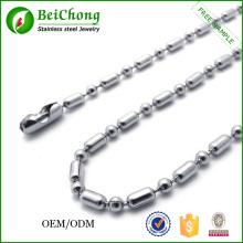 El collar de cadena de bola de acero inoxidable moda