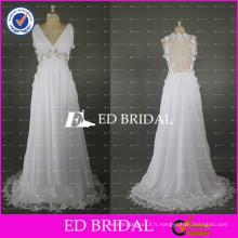 ED Robe nuptiale sur mesure en V Voir à travers Robe de mariée en mousseline d'épagne