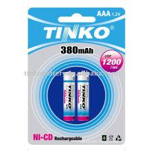 ni-cd battery size AAA 380mah 2pcs/blister OEM welcomed