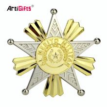 Placa de encargo del Pin de la solapa de la seguridad del color doble plateado metal del nuevo diseño al por mayor de la aduana