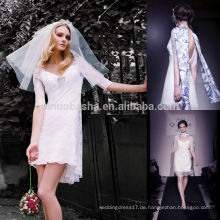 Reizvolles kurzes vorderes langes rückseitiges Hochzeits-Kleid 2014 Neues V-Ansatz halbes Hülsen-Backless Mini-Hüllen-Spitze-Brautkleid ohne Schal NB0762