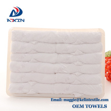 Hot sale 100% cotton terry airline disposable towel in tray Hot sale 100% cotton terry airline disposable towel in tray