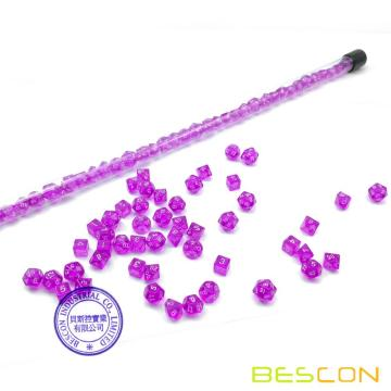 Bescon 49pcs Gem Purple Mini Polihédricos Juego de dados en tubo largo, Gem Mini Dungeons and Dragons RPG Dice 7X7pcs, Juego de palo largo