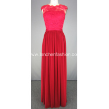 Red Evening Prom Dresses with Lace Top