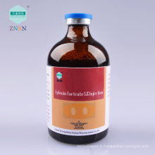 Tartrate 5% de tylosine Injection, traiter la bronchite de pneumonie provoquée par mycoplasma mycoplasma et pasteurella