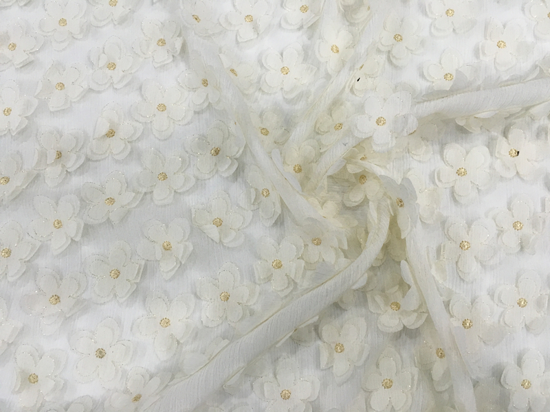 Chiffon Flower Embroidery Fabric