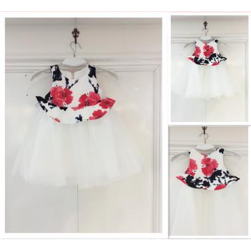 Guangzhou-Fabrik-Blumen-Tulle-Hochzeits-Kleid für Kind nettes beiläufiges Mädchen-Kleid-Hochzeitsfest-Kleid