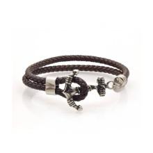 Custom Black Statement Anchor Leather Bracelet, Stainless Steel Anchor Leather Bracelet