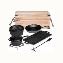 7-Piece Cast Iron Preseasoned Camping Cookware Sets with Wooden Box