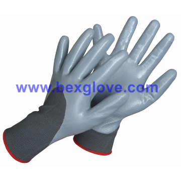 13 Gauge Polyester Liner, Nitrile Coating, 3/4, Gants de sécurité à finition lisse