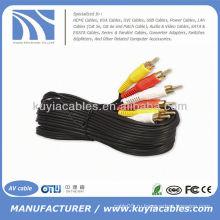 Позолоченный шнур Тройной 3-RCA композитный AV-кабель Аудио-видеокабель Аудиокабель