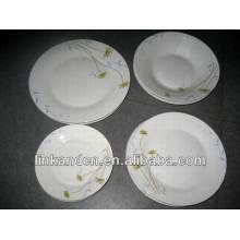 Haonai 16pcs round ethnic ceramic dinner plate set