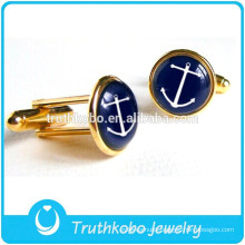 L-C0011 Most Popular Stainless Steel Plated Gold High Polishing Navy Cufflinks Stainless Steel Black Cubic Zirconia Cufflinks
