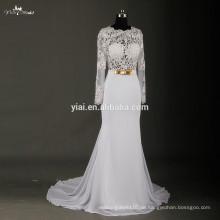RSW723 reizvolles sehen durch Korsett-langes Hülsen-Spitze-Chiffon- Hochzeits-Kleid-Verkauf