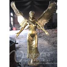 Banhado a metal artesanato tamanho vida bronze estátua de anjo para venda