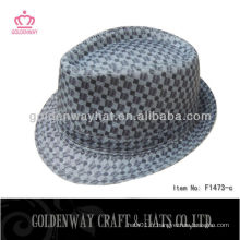 Black check fedora hat camouflage polyester plaid beau style borsalino modèle usine vente