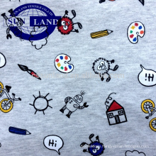 yarn dyed & printed 100% melange cotton jersey fabric