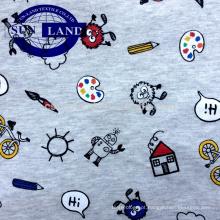 fio tingido e impresso 100% tecido jersey de algodão melange