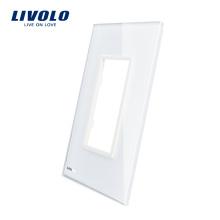 Livolo Роскошный Белый Жемчужный Хрусталь 125 мм * 78 мм Стандарт США Одноместный Стеклянная Панель Для Продажи Для Настенного Выключателя Розетка VL-C5-SR-11