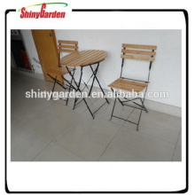 wooden iron table and chair set