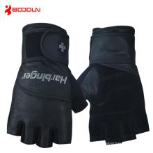 Gants sport sans doigts en cuir noir pour hommes (HBD140)