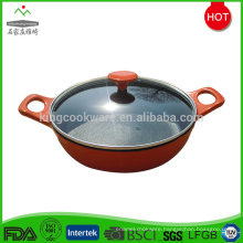 chinese cast iron color enameled wok pan with transparent lid