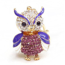 china supplier wholesale rhinestone owl keychain anime keychain