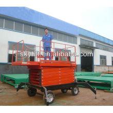 electro-hydraulic four wheels mobile scissor lift tables
