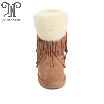 2018 women winter flat wool suede fringe boots