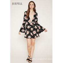 Fashion Deep V Neck Floral Print Horn Sleeve Dress