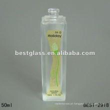 Frasco de perfume de vidro extravagante geado alto da forma 50ml quadrada