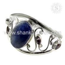 Сверкающие мульти драгоценных камней серебряный браслет 925 серебряные ювелирные изделия ручной работы ювелирные изделия оптовик